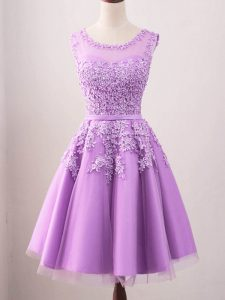Tulle Sleeveless Knee Length Quinceanera Court of Honor Dress and Lace
