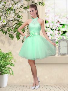 Unique Apple Green Halter Top Neckline Lace and Belt Quinceanera Dama Dress Sleeveless Lace Up