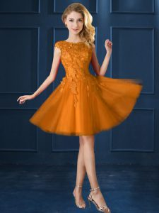 Knee Length Gold Quinceanera Court of Honor Dress Tulle Cap Sleeves Lace and Belt