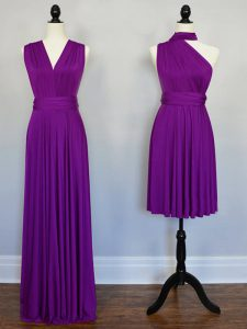 Purple Empire Chiffon Halter Top Sleeveless Beading and Ruching Floor Length Lace Up Damas Dress