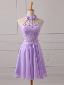 Luxurious Sleeveless Chiffon Mini Length Lace Up Quinceanera Court of Honor Dress in Lavender with Lace and Appliques