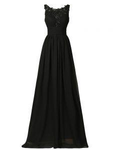 Exceptional Floor Length Black Dama Dress Chiffon Sleeveless Appliques