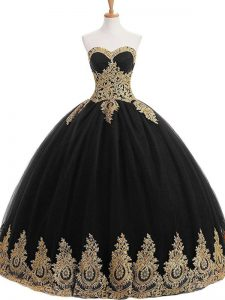 Nice Black 15 Quinceanera Dress Sweet 16 and Quinceanera with Appliques Strapless Sleeveless Lace Up