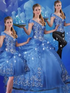 Glittering Floor Length Lace Up Sweet 16 Dresses Blue for Military Ball and Sweet 16 and Quinceanera with Beading and Embroidery