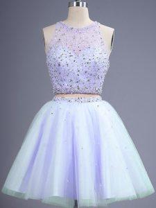 Modest Lavender Lace Up Dama Dress Beading Sleeveless Knee Length