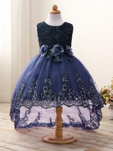 Sleeveless Zipper High Low Lace and Appliques and Bowknot and Hand Made Flower Kids Pageant Dress