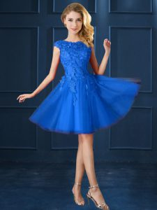 Hot Selling Blue Bateau Neckline Lace and Belt Court Dresses for Sweet 16 Cap Sleeves Lace Up