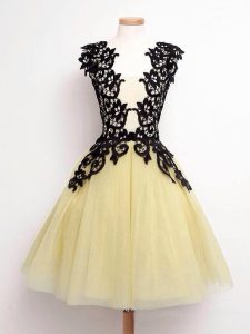 Sleeveless Knee Length Lace Lace Up Quinceanera Dama Dress with Gold