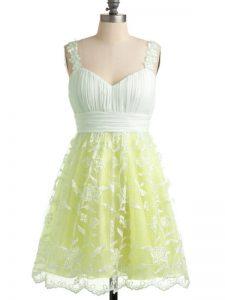 Cute Yellow Sleeveless Knee Length Lace Lace Up Dama Dress