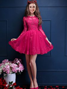 Mini Length Hot Pink Quinceanera Court Dresses Chiffon 3 4 Length Sleeve Beading and Lace and Appliques
