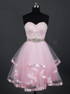 Baby Pink Tulle Zipper Sweetheart Sleeveless Mini Length Quinceanera Dama Dress Beading and Lace and Ruffles