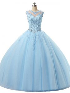 Light Blue Ball Gowns Beading and Lace Quince Ball Gowns Lace Up Tulle Sleeveless Floor Length