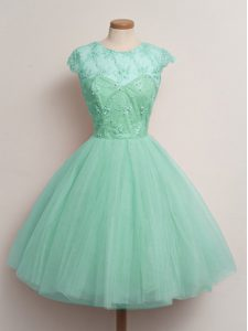 Tulle Cap Sleeves Knee Length Quinceanera Court of Honor Dress and Lace
