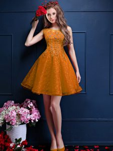 Sleeveless Knee Length Beading and Lace Lace Up Quinceanera Dama Dress with Gold