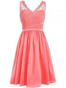 Knee Length Watermelon Red Dama Dress for Quinceanera V-neck Sleeveless Side Zipper