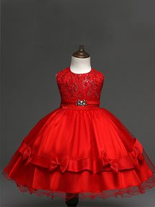 Gorgeous Sleeveless Knee Length Lace and Bowknot Zipper Little Girls Pageant Dress Wholesale with Red
