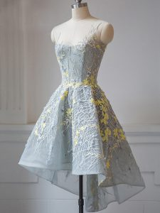 High Low Grey Quinceanera Court Dresses Scoop Sleeveless Criss Cross
