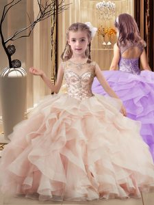 Inexpensive Peach Ball Gowns Tulle Scoop Sleeveless Beading and Ruffles Lace Up Little Girl Pageant Gowns Brush Train