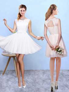 Lace and Appliques Quinceanera Court of Honor Dress White Lace Up Sleeveless Knee Length