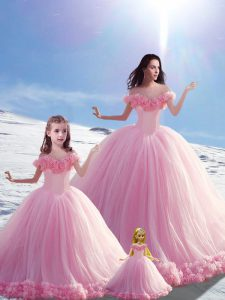 Custom Design Baby Pink Ball Gowns Off The Shoulder Sleeveless Tulle Brush Train Lace Up Hand Made Flower 15 Quinceanera Dress