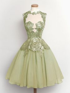Olive Green High-neck Neckline Lace Dama Dress Sleeveless Lace Up