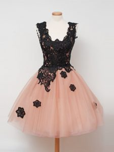 Comfortable Knee Length Peach Quinceanera Court Dresses Straps Sleeveless Zipper