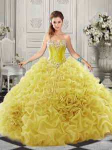 Yellow Lace Up Quinceanera Dresses Beading and Ruffles Sleeveless Court Train