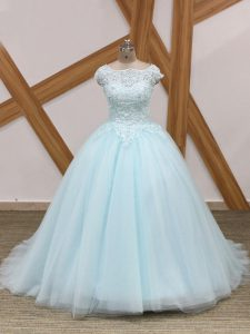 New Style Light Blue Quinceanera Dresses Tulle Brush Train Sleeveless Beading and Lace