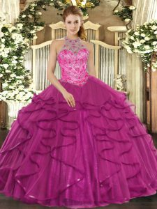 Excellent Ball Gowns Sweet 16 Dress Fuchsia Halter Top Tulle Sleeveless Floor Length Lace Up