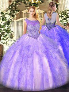 Stylish Scoop Sleeveless Lace Up Sweet 16 Dress Lavender Organza