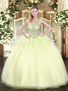 Flare Sleeveless Organza Floor Length Lace Up Vestidos de Quinceanera in Light Yellow with Beading