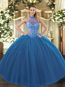 Floor Length Navy Blue Quinceanera Gowns Tulle Sleeveless Beading and Embroidery