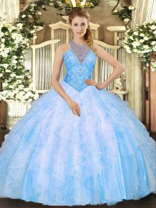 High Class Baby Blue High-neck Neckline Beading and Ruffles Quinceanera Gowns Sleeveless Lace Up