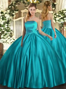 Superior Teal Satin Lace Up Strapless Sleeveless Floor Length Quinceanera Dress Ruching