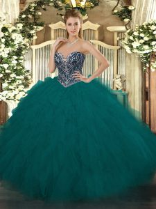 Floor Length Ball Gowns Sleeveless Teal Sweet 16 Quinceanera Dress Lace Up