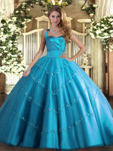 Gorgeous Baby Blue Ball Gowns Halter Top Sleeveless Tulle Floor Length Lace Up Appliques Quinceanera Dress