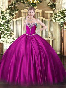 Fuchsia Satin Lace Up Sweetheart Sleeveless Floor Length Quinceanera Dresses Beading
