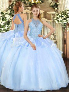 Ball Gowns Vestidos de Quinceanera Light Blue Halter Top Organza Sleeveless Floor Length Lace Up