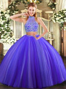 On Sale Purple Two Pieces Halter Top Sleeveless Tulle Floor Length Criss Cross Beading 15th Birthday Dress