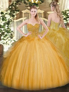 Enchanting Gold Ball Gowns Sweetheart Sleeveless Tulle Floor Length Lace Up Lace Quince Ball Gowns