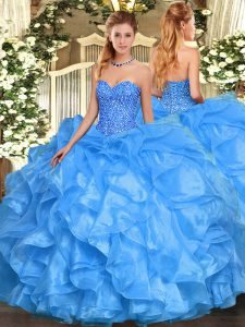 Extravagant Sweetheart Sleeveless Organza Quinceanera Dresses Beading and Ruffles Lace Up