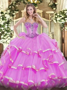 Exquisite Beading and Ruffles Sweet 16 Dress Lilac Lace Up Sleeveless Floor Length