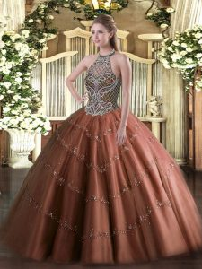 Halter Top Sleeveless Lace Up Quinceanera Gowns Chocolate Tulle