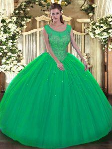 Dynamic Green Scoop Neckline Beading Sweet 16 Dress Sleeveless Backless