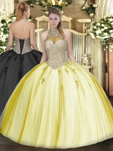 Low Price Beading and Appliques Sweet 16 Dresses Yellow Lace Up Sleeveless Floor Length