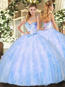 Classical Floor Length Light Blue Sweet 16 Quinceanera Dress Sweetheart Sleeveless Lace Up