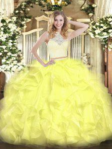 Scoop Sleeveless Sweet 16 Dress Floor Length Lace and Ruffles Yellow Organza