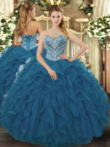 Teal Ball Gowns Beading and Ruffled Layers Ball Gown Prom Dress Lace Up Tulle Sleeveless Floor Length