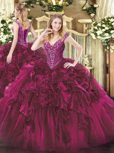 Custom Design Ball Gowns Sweet 16 Dresses Fuchsia V-neck Organza Sleeveless Floor Length Lace Up