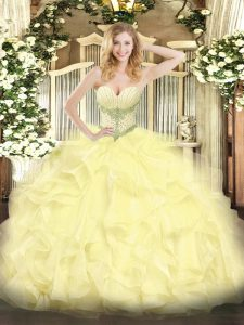 Yellow Sweetheart Neckline Beading and Ruffles Quinceanera Dress Sleeveless Lace Up